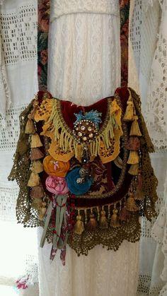 Handmade Fabric Lace Crochet Carpet Bag Hippie Gypsy Boho Hobo Fringe tmyers…