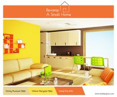 Intelligent design ideas and bold bright colours turn a compact living area into a stylish place for work, rest and play. Splash a bold shade of chartreuse green, the tangy orange and the sunny yellow here and there, then balance it with a more restrained neutral like beige or mahogany in the rest of the house. You will see the ensemble come alive beautifully! #RevampASmallHome