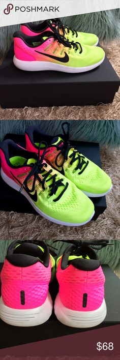a5a353d9016a 🦄Nike women s Lunarglide 8 OC Fun brightly colored pink and yellow nikes!  These are
