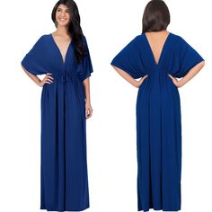 Rochelle Maxi Dress has a V-neck front & back Kimono sleeves Elastic waist ensures a great fit for all body types. The Rochelle is very flattering when worn