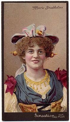 a colour lithograph cigarette card issued in the United States in 1895 by the P. Lorillard Company for its 'Sensation' Cut Plug tobacco with a portrait of Marie Studholme (1872-1930), English musical comedy actress and singer, at the time of her appearances in America in An Artist's Model (printed by Julius Bien & Co, lithographers, New York, 1895)An Artist's Model, Broadway Theatre, New York, 27 December 1895 'An Artist's Model, as presented last night by George Edwardes' imported company…