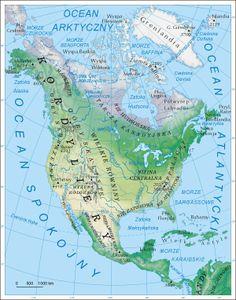 Ameryka Północna - mapa fizyczna