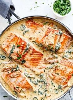 Creamy Garlic Butter Tuscan Salmon (OR TROUT) is such an incredible recipe! Rest… Creamy Garlic Butter Tuscan Salmon (OR TROUT) is such an incredible recipe! Restaurant quality salmon in a beautiful creamy Tuscan sauce! Delicious Salmon Recipes, Healthy Chicken Recipes, Seafood Recipes, Cooking Recipes, Sauce Recipes, Seafood Dishes, Cooking Food, Trout Recipes, Baked Salmon Recipes