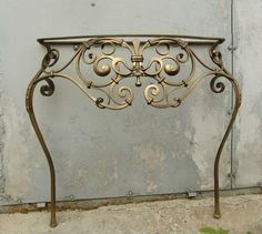 Forged bathroom stand and sink price - Make Up Desk Iron Table, Metal Decor, Iron Doors, Wrought Iron Furniture, Entryway Console Table, Bathroom Stand, Southwestern Furniture, Metal Furniture, Damask Stencil