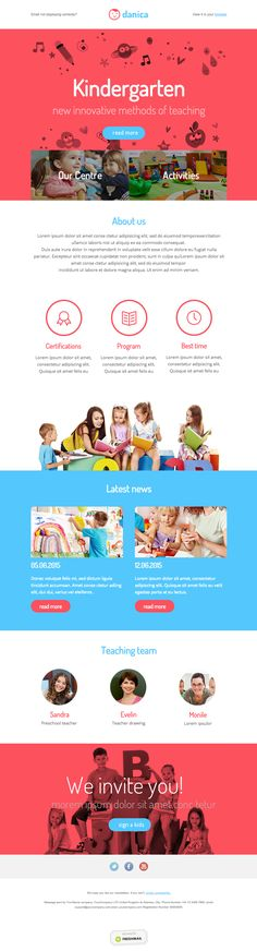 Kindergarten newsletter template for kids and parents. Responsive Design #emailmarketing #free