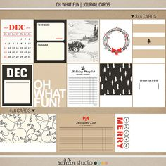 Oh What Fun Christmas (Journal Cards) by Sahlin Studio - Perfect for your Project Life or December Daily album!