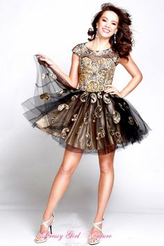 Frenchy HPM3008 rock-them-off #TulleShortDress #PromStyle2014 #BlackAndGoldDress $378.00