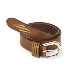 Stitch Detail Tan Leather Belt
