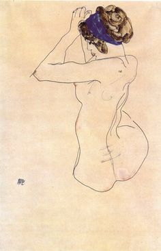 Egon Schiele ~ Sitting Nude with Blue Headband, 1912
