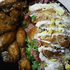 Hogs Golden Mushroom Chicken Wings with Da Hogs Chef Salad