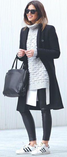"""Look digno para o frio com estilo! Peças básicas e o estiloso vem com o """" brincar"""" de proporções!"""