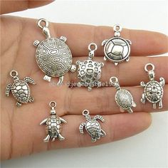 2set=16pcs Alloy Ocean Sea Turtle Tortoise Charms Pendant Jewelry Antique Silver