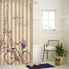 Romantic Eiffel Tower & Bike Shower Curtain Bathroom Waterproof Fabric 72'' -- BuyinCoins.com