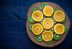 Pomarańczowy, Kiwi, Drewno, Tabela, Niebieski, Zielony