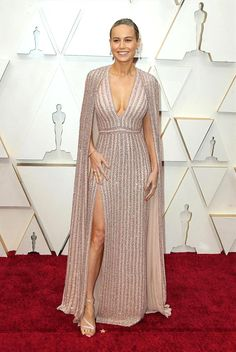 Why Miss Brie. You have shocked, surprised, and delighted us. We're not sure we thought you had it in you. Not that she's any slouch in the Brie Larson, Beaded Gown, Effortless Chic, Celebrity Outfits, Red Carpet Looks, Beautiful Celebrities, Celine, Beautiful Dresses, Glamour
