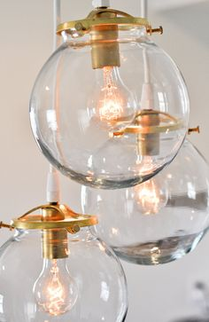 Brass & Glass Globe Pendant Chandelier by clarksallpurpose on Etsy, $170.00