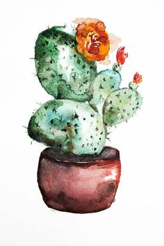 Original watercolor painting cactus. Watercolour art. This is ORIGINAL watercolor painting shows a cactus in a pot. I hope you enjoyed this watercolor painting. Painting is unframed. The copyright notice will not appear on the painting it is signed, titled and dated on the back. Will