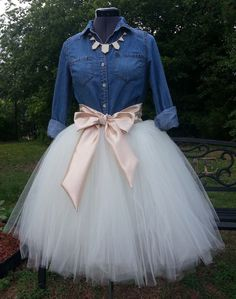 Custom Made Adult  Ivory Tulle Tutu Style Skirt for brides maid dress, prom, party, portraits-Can do any color satin sash for the waist on Etsy, $52.78 AUD