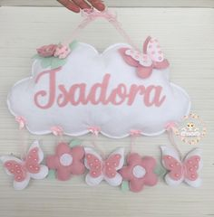 Baby Shower Crafts, Baby Crafts, Fun Crafts, Diy And Crafts, Letter Wreath, Felt Name Banner, Girls Room Wall Decor, Felt Crafts Patterns, Embroidery Hoop Crafts
