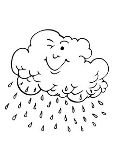 Cloud Coloring Pages with rain