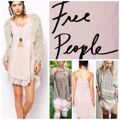 """Free People Soft Pink Slip Dress.  NWT. Free People Pink (Shell) Lace Trim Slip Dress, 100% rayon, machine washable, 17"""" armpit to armpit (35"""" all around), 34"""" shortest center length, 41"""" longest side length, unlined, V-neck, high low hem, tie back with keyhole, sheer lace trim, pullover style, measurements are approx.  Please note, lace trim is pink not white as shown in Covershot.  No PayPal...No Trades... Free People Dresses"""