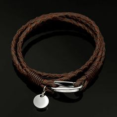 Personalized Brown Leather Bracelet with Stainless Charm 6 1/2 and 7 1/2 inch | Engravable Jewelry