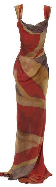 Vivienne Westwood Union Jack design takes on a vintage distressed look in silk chiffon for this classically draped corseted gown. Fashion Week, High Fashion, Womens Fashion, London Fashion, Fashion Brands, Tie Dress, Dress Me Up, Beautiful Gowns, Beautiful Outfits