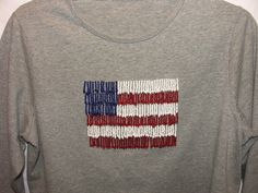 Patriotic Shirt Beaded Flag Womens T-Shirt 3/4 Sleeve Red White Blue 40 in Chest #unknown #TShirt #Casual