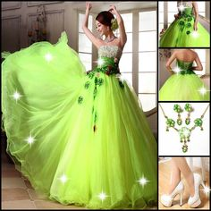 Quinceanera Dress: http://www.tbdress.com/product/Attractive-Strapless-Sequins-Beading-Flowers-A-Line-Floor-Length-Quinceanera-Dress-10957732.html Shoes: http://www.tbdress.com/product/Elegant-White-Stiletto-Platform-Heels-With-Lace-10633744.html