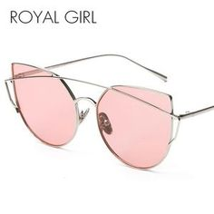 c994e8d2beca5 ROYAL GIRL New Fashion Cat Eye Sunglasses Women Classic Brand Designer Twin  Beams Sun Glasses Mirror