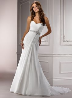 """Maggie Sottero """"Courtney"""" Gown. This is a little too simple, but the beaded belt and the upper part of the dress is beautiful. I really like the pleating and the neckline."""