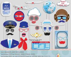 Airplane Party Photo Booth Props Birthday Party Photobooth Props Pilot Moustache Special Delivery Baby Shower Little Aviator Jet Setter Party Props, Diy Party, Aviation Wedding Theme, Aviation Theme, Vintage Airplanes, Vintage Airplane Party, Travel Party, Thinking Day, Retirement Parties