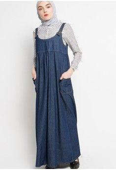 Wanita Baju Muslim Dress Muslim Gamis Overall Skirt Denim