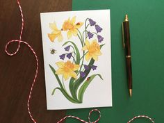 Daffodil Floral Greeting Card | Etsy #spring  #greetingcards #cards #etsy #etsyshop #daffodils #ladybug #bellflower #foral #illustration Daffodil Flower, Colored Envelopes, Plant Illustration, Daffodils, Gouache, Ladybug, Bee, Greeting Cards, Hand Painted