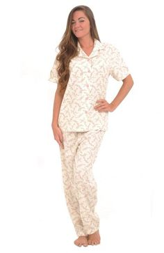 Del Rossa Women s Cotton Short Sleeve Pajama Set with Pj Pants 8c574bd25