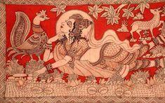 Kalamkari – The Ancient Indian Art of Organic Fabric Painting Phad Painting, Mural Painting, Fabric Painting, Mural Art, Woman Painting, Ancient Indian Art, Indian Folk Art, Kalamkari Painting, Madhubani Painting