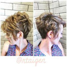 Loving these curly whirlies<3 this girl rocks! #lovemyjob #hairdomesa #nothingbutpixies #pixiecut #modernsalon #bbtexture #curlyburns