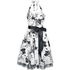 H&R London Floral Long Dress Dress white-black ($72) ❤ liked on Polyvore