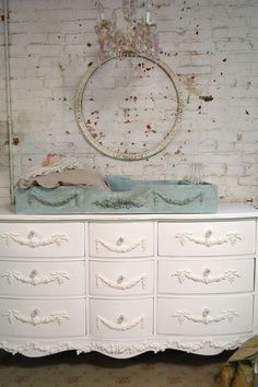 Painted Cottage Shabby Aqua Romantic Changing Table Tray CH86