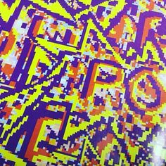 """A detail view of a printed version of the #PhotonPainting """"POW"""" (1991) by OUBEY, #zoom #amiga500 #painting #artist #art #artlove #instaart #artoftheday #artstagram #computerart #digitalart #artpioneer #Kunst #followart #amiga500memories #violett #yellow #colorful #bunt #OUBEY"""