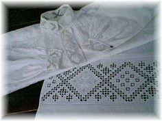 🇳🇴 Hardanger bluse til bunad Hardanger Embroidery, Hand Embroidery, Paper Snowflakes, Head Pieces, Aprons, Plays, Norway, Scandinavian, Needlework