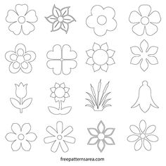 Simple Flower Drawing, Flower Pattern Drawing, Paper Flower Patterns, Flower Outline, Flower Svg, Paper Flowers, Flower Shape, Simple Flower Design, Simple Flowers To Draw