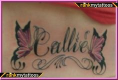 name tattoos | My Name with Butterflies Lower Back Tattoo