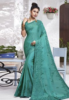Buy Sea Green Chiffon Festival Wear Saree 204563 with blouse online at lowest price from vast collection of sarees at Indianclothstore.com.