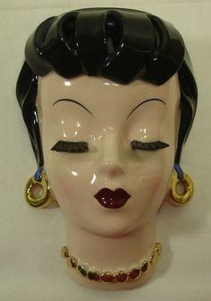 "Vintage Napco 5 5 8"" Lady Head Vase Wall Pocket S131 w Original Foil Label | eBay"
