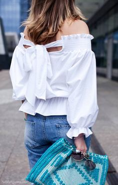 White Back Bowknot Tie Pinstriped Off The Shoulder Blouse