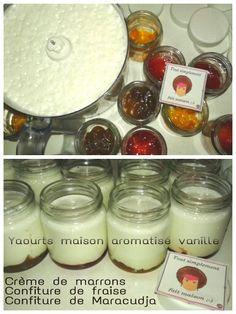 Toujours dans ma période ☆★☆Yaourts maison☆★☆  Je vous propose mes yaourts:  Crème de marrons Confiture de fraises Confiture de Maracudja  Recette sur mon blog, par ici →http://toutsimplementfaitmaisonleblog.over-blog.com/2015/01/mes-premiers-yaourts-maison-aromatise-vanille.html