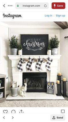 Learn how to recreate this amazing black and white rustic Christmas mantel! Spruce up your holiday decor this year with this simple but HUGELY effective display! Treatment Projects Care Design home decor Farmhouse Christmas Decor, Country Christmas, Christmas Home, Christmas Holidays, Farmhouse Decor, Buffalo Check Christmas Decor, White Christmas, Modern Farmhouse, Farmhouse Fireplace