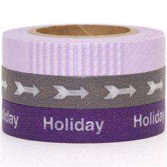 grey & purple Washi Masking Tape tape set 3pcs holiday