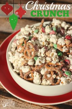 This Christmas Crunch is THE BEST neighbor gift during the holidays. It takes less than 15 minutes to put together and it looks so festive! I love the combination of sweet and salty.